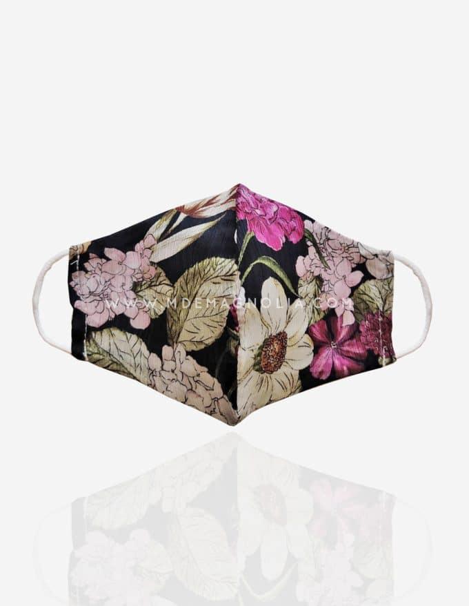 mascarilla de tela de flores grandes