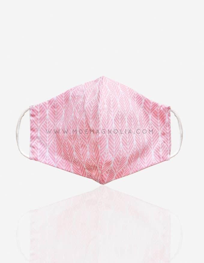 mascarilla de tela de hojitas rosas
