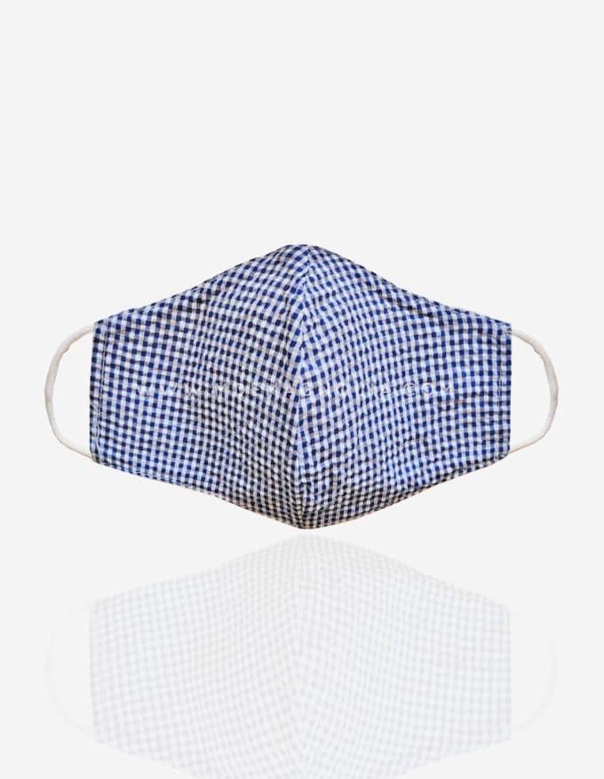 mascarilla de tela vichy azul marino