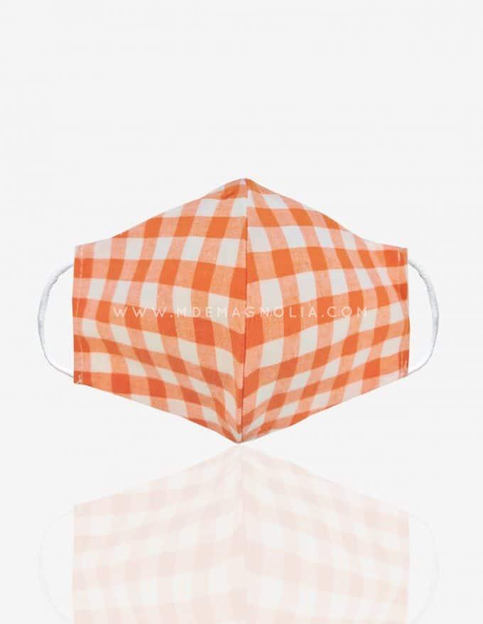 mascarilla de tela vichy naranja