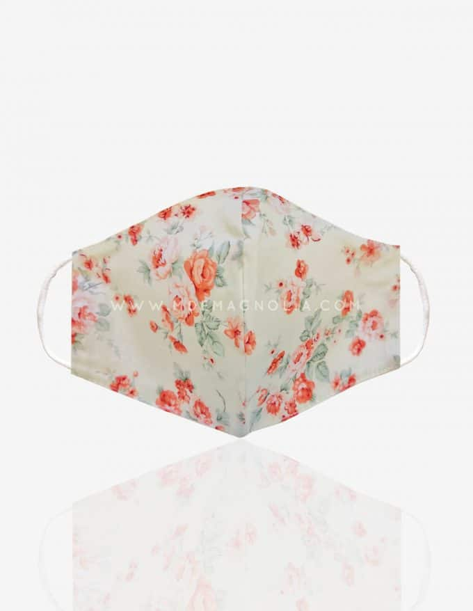 mascarilla lavable de tela con flores