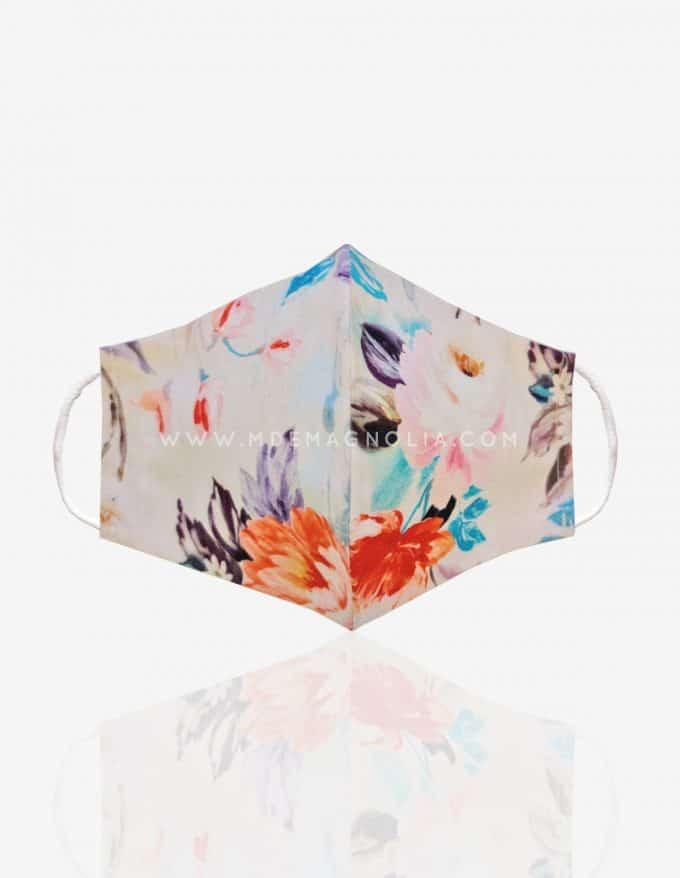 mascarilla reutilizable de tela con flores